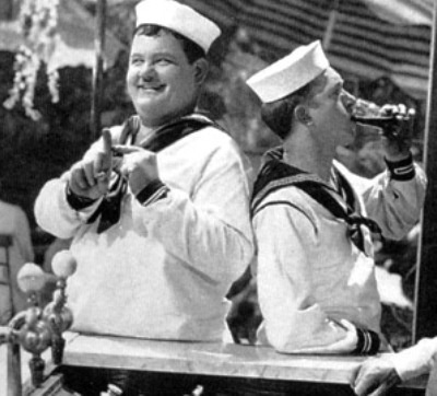 """Laurel and Hardy in """"Men O'War"""" Talking Feature 1929"""