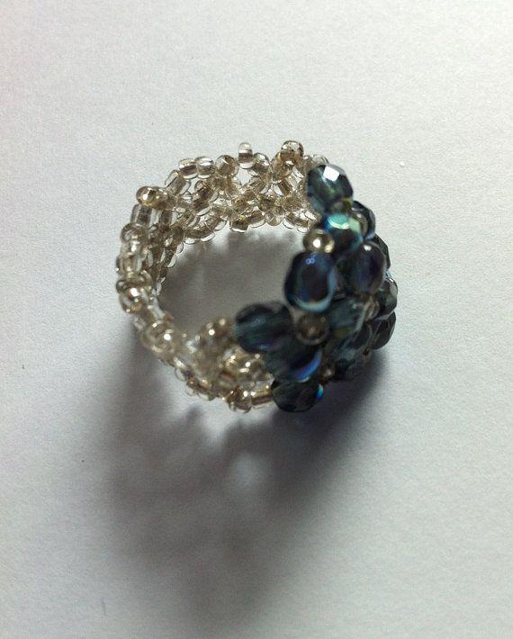 Twin Flowers Navy Blue Swarovski Crystal Beaded by bonmokishop