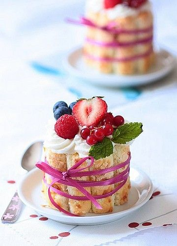 Desert: Pudding surrounded by lady fingers with whipped cream and berries.