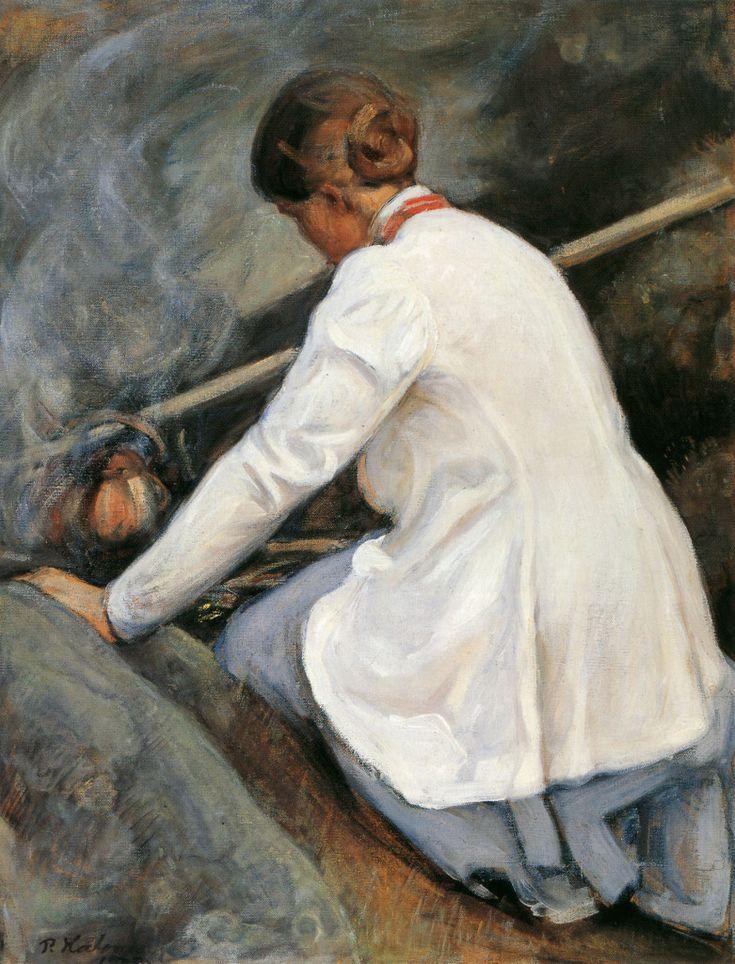 """Pekka Halonen-""""Kahvinkeittäjä (Maija-Halonen)"""" – Maija Halonen boiling coffee on the fire, 1905, from The Life and Art of Pekka Halonen - http://www.alternativefinland.com/art-pekka-halonen/"""