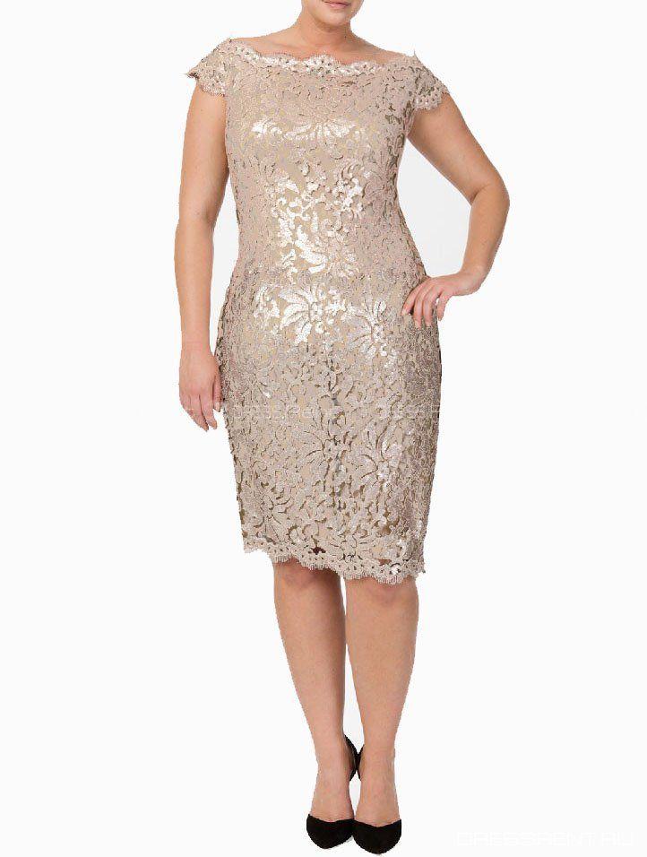 Платье - Tadashi Shoji  | Biege Sequin lace Dress+