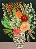 sweet vase with gold on black background and pink cloth by Rah Rivers, Painting, Acrylic on board