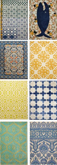 Look at all these amazing rugs. Great colours, great patterns! We don't know how to choose!!