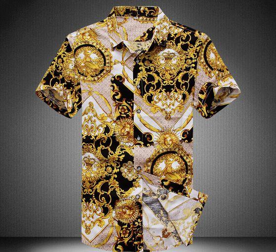 2016 Luxury Brand Mens Gold Shirt Medusa Shirt Short Black And Gold Shirt Royal Vestido Camisa Oro 5xl Masculina Homme Slik Club#medusa shirt