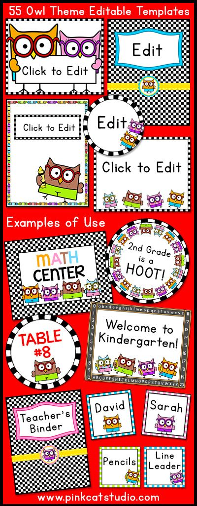 Smarty Pants Owls Theme Editable Templates for Posters, Labels, Binders, Signs, Newsletters and More! These fun and quirky Smarty Pants Owls will look fantastic in your classroom! This value packed set of full color templates includes 55 unique template designs that you can customize to suit your needs. By Pink Cat Studio