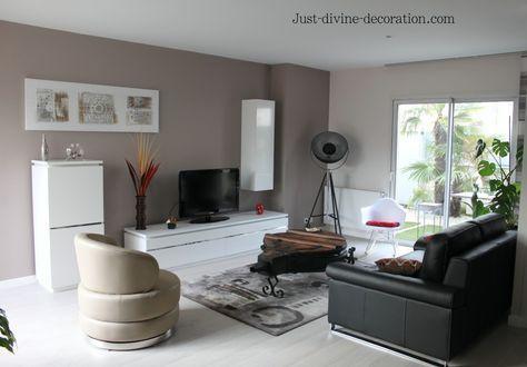 Séjour contemporain taupe, gris, blanc, noir... | Room ...