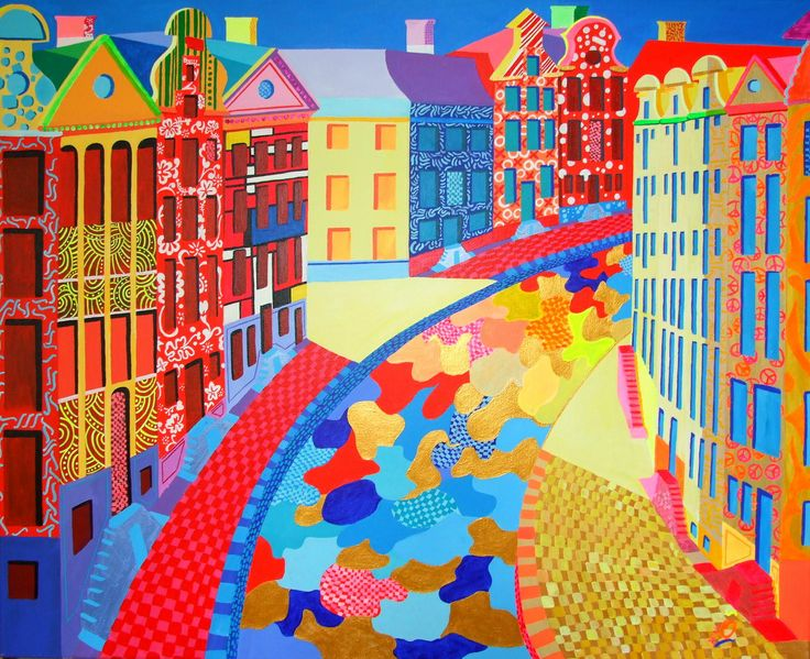 """GOLDEN BEND, AMSTERDAM. When you take a closer look, you see that the fronts of the houses are different. Each front tells a story (details www.nosybirds.com). My intention was to give this painting a bit of so called ""wallpower"". It attracts the eye.  Size 31.5 - 39.4 inch (80 - 100 cm), Acrylic on heavy linnen. #goudenbocht #amsterdam. Info: jos@nosybirds.com"