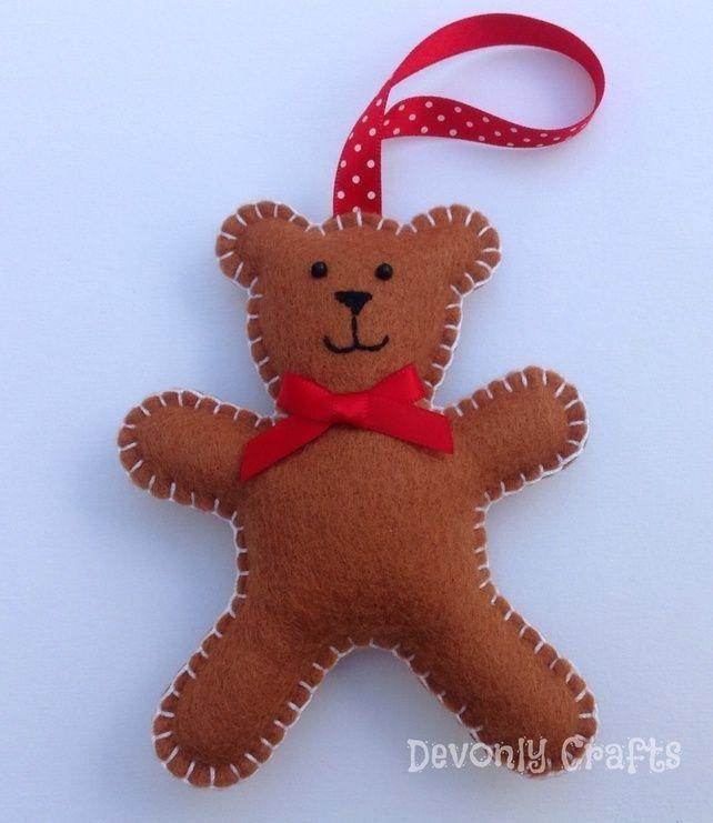 Christmas Teddy Bear Felt Decoration X1 Teddy Bear
