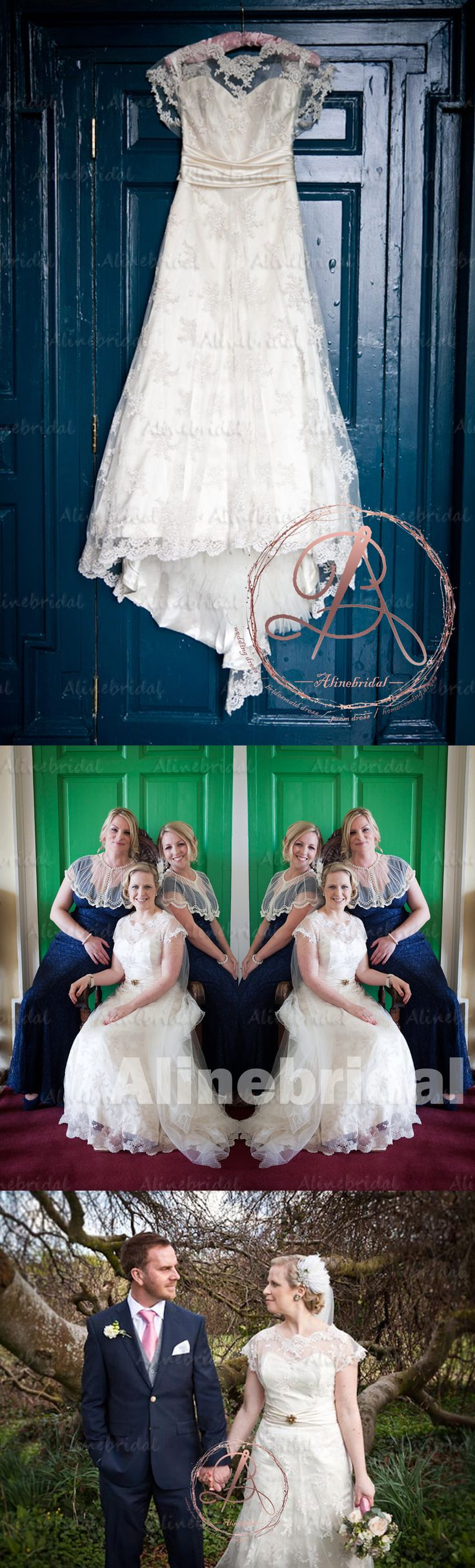 VINTAGE LACE CAP SLEEVE JEWEL NECK SWEETHEART ELEGANT A-LINE STUNNING WEDDING DRESSES, AB1118