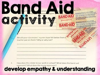 FREE 3-7  short and hilarious activity will foster acceptance and understanding among your students for those who receive differentiated work. I was often questioned by my very socially aware 6th graders why some students received different work. This demonstration will help you explain our unique learning styles and needs in kid friendly language with a relatable metaphor- does everybody need a band aid on the same place on their bodies at the same time?