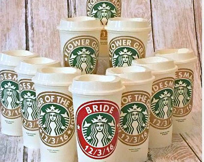 Bridesmaid Gift Bridal Party Starbucks Cup Custom Coffee Wedding