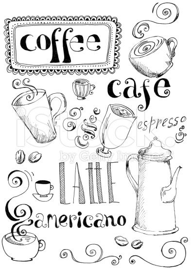 Coffee doodles royalty-free stock illustration