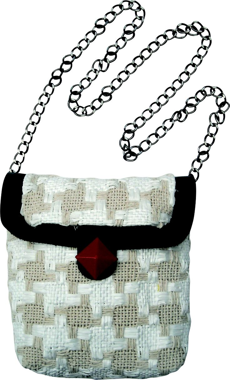Submarine Xs chain small bag in handwoven fabric donna white. geometrical details. chain handle