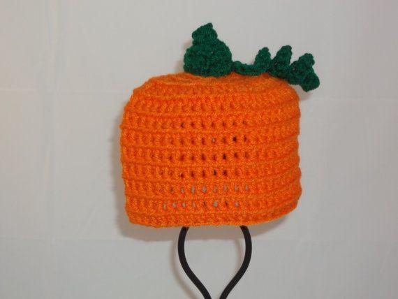 9 to 12 Months Crocheted Pumpkin Hat - Crochet Pumpkin Hat Photo Prop for Babies