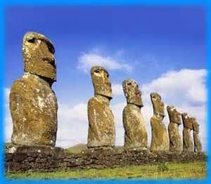Photograph of stone statues of Easter Island to illustrate my poem, The Long Return
