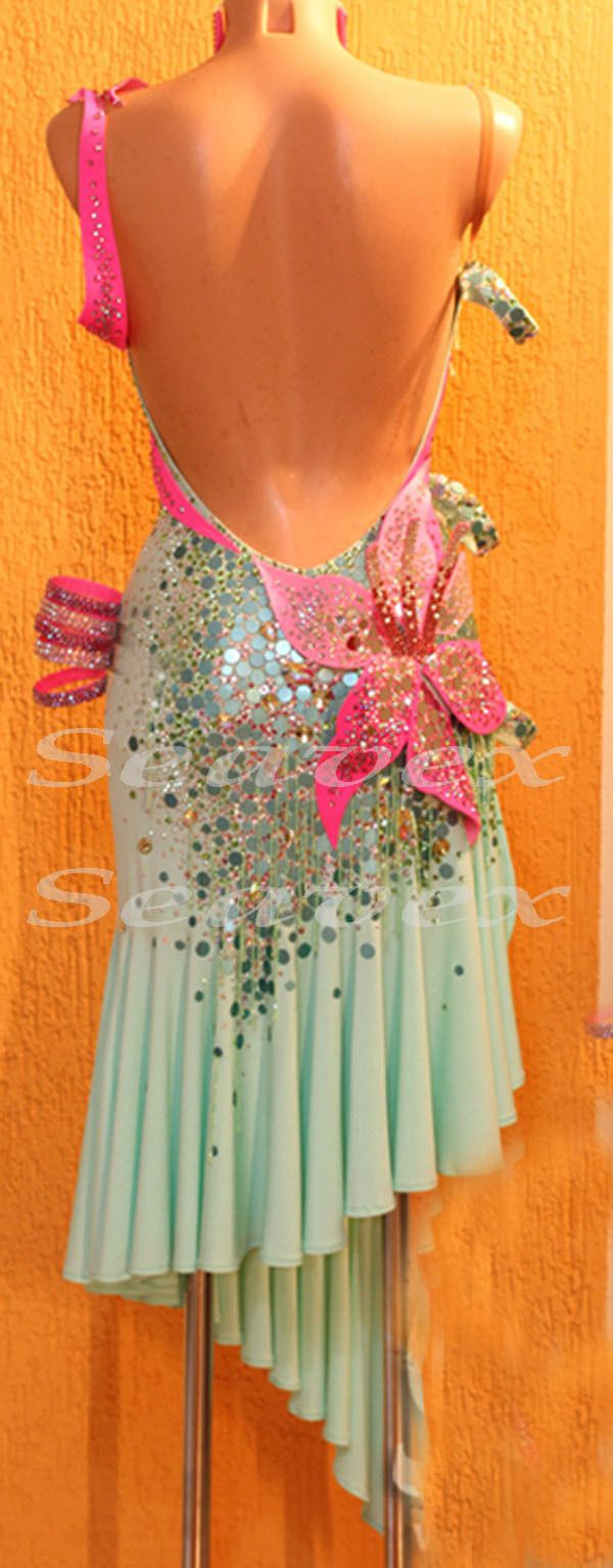 Ballroom Latin Cha Cha Samba Dance Dress US 6 UK 8 Pink Flowers Green Beads | eBay