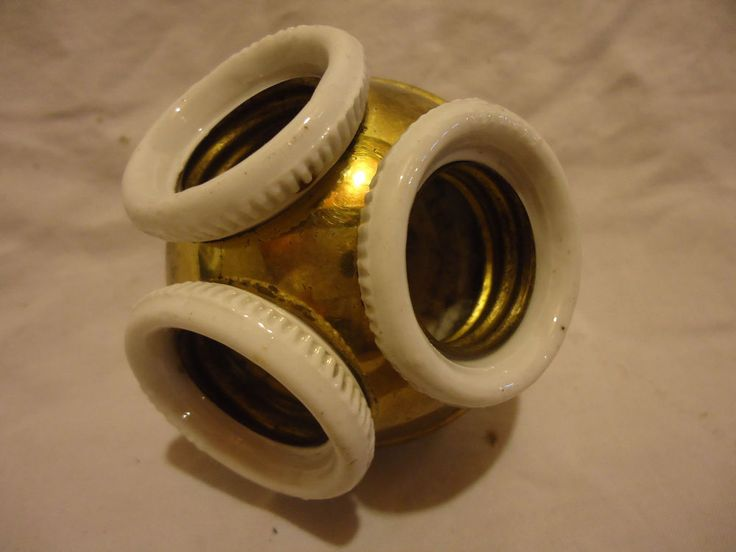Vtg Antique 3 Lamp Socket Cluster Germany Brass Porcelain