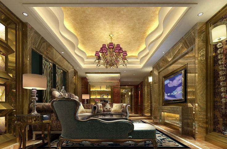 luxurious gypsum ceiling decoration for villa living room interior