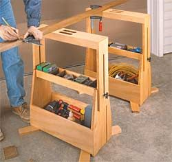Tool Tote Sawhorses - I'm often looking for a place to set tools when working on the sawhorses so this is an interesting idea.  Sacrifices the option to have collapsible sawhorses, though.
