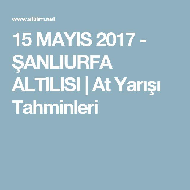 15 MAYIS 2017 - ŞANLIURFA ALTILISI | At Yarışı Tahminleri