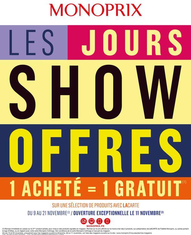 Catalogue Monoprix en cours, Les jours show offres, Page 1