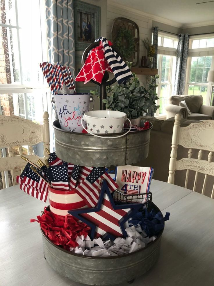 Target Dollar Spot Decor in my 4th of July Tiered Tray! Get this cute look for less!
