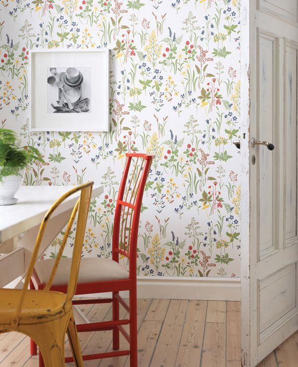 wallpaper & chairs painted in bright colours