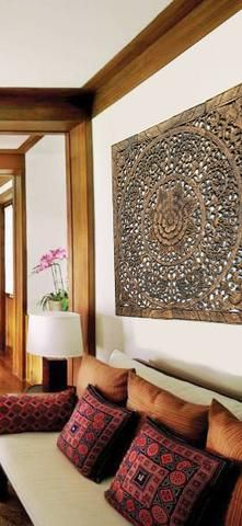 "Elegant Wood Carved Wall Plaque. Wood Carved Floral Wall Art. Asian Home Decor Wall Art Panels. Bali Home Decor. 48""x48""x0.5"" Available in Black Wash, Dark Brown, and Espresso"