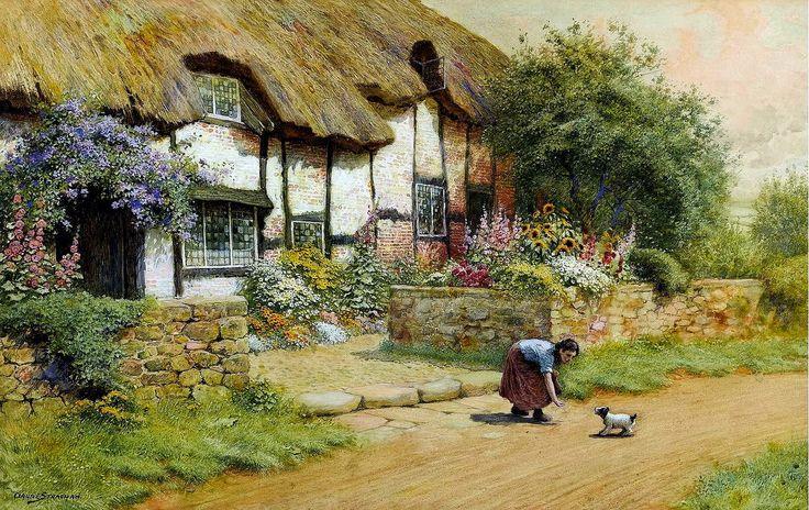 Arthur Claude Strachan (British, 1865-1938) - Young Girl Feeding a Puppy