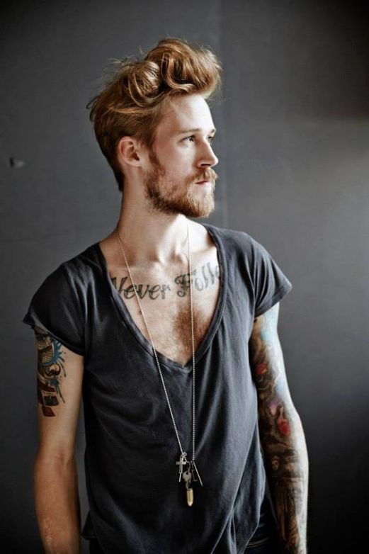 Hipster men With Undercut Hairstyle Tattoo & Beard http://www.99wtf.net/men/mens-fasion/ideas-choosing-mens-outfit-colors-mens-fashion-2016/