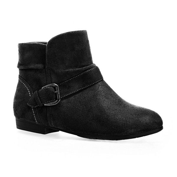 Avenue Akron Faux Suede Belted Bootie ($30) ❤ liked on Polyvore featuring shoes, boots, ankle booties, booties, black, plus size, black boots, wide ankle boots, black bootie and buckle booties