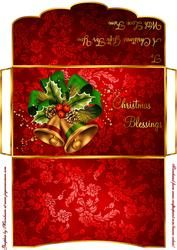 Christmas Bells In Red Money/gift Voucher Wallet