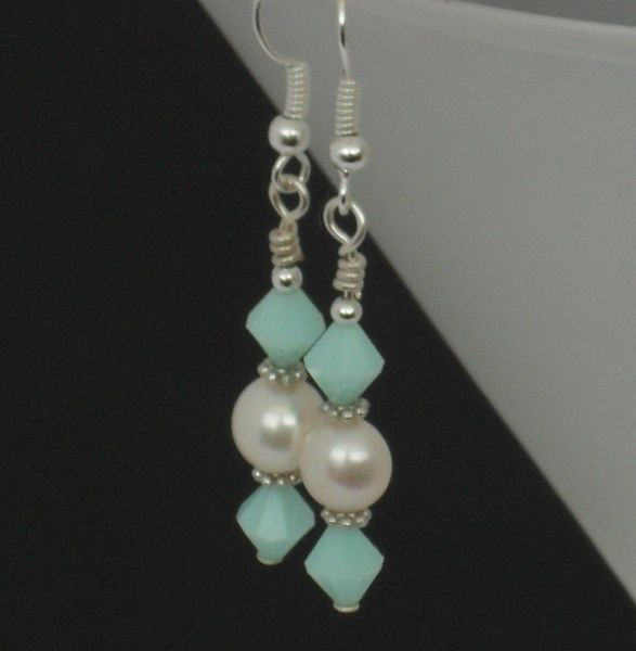 Pearl and swarovski mint green crystal earrings - £6 + p - Creative Connections #Craftfest