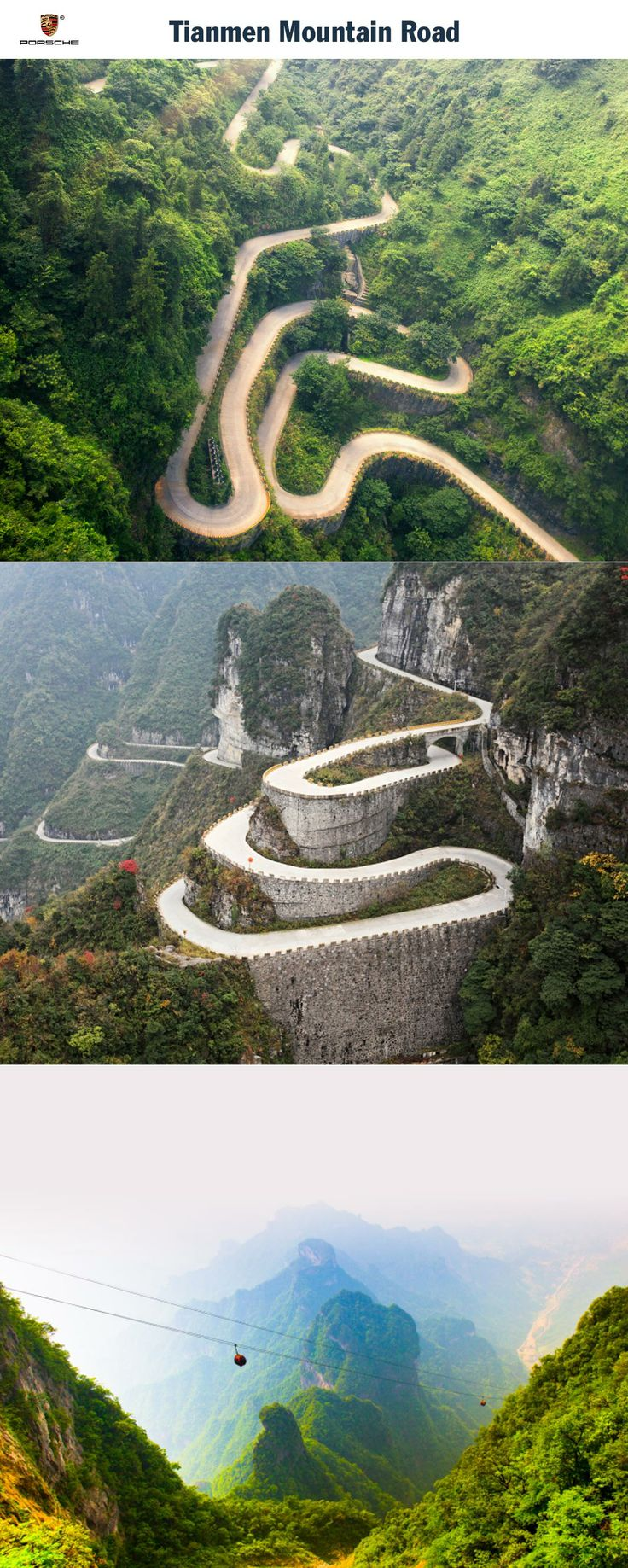 Tianmen Mountain Road, China. Winding your way through the Middle Kingdom. Start: Changde. Destination: Tianmen Mountain. Driving time: Approx. 6 hours. Distance: Approx. 320 km (199 miles). Recommended travel time: May - October.   Learn more: http://link.porsche.com/gts/china