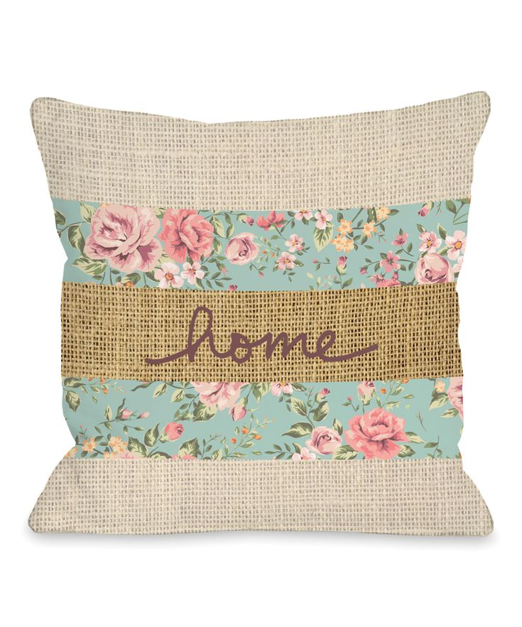 'Home' Floral Throw Pillow