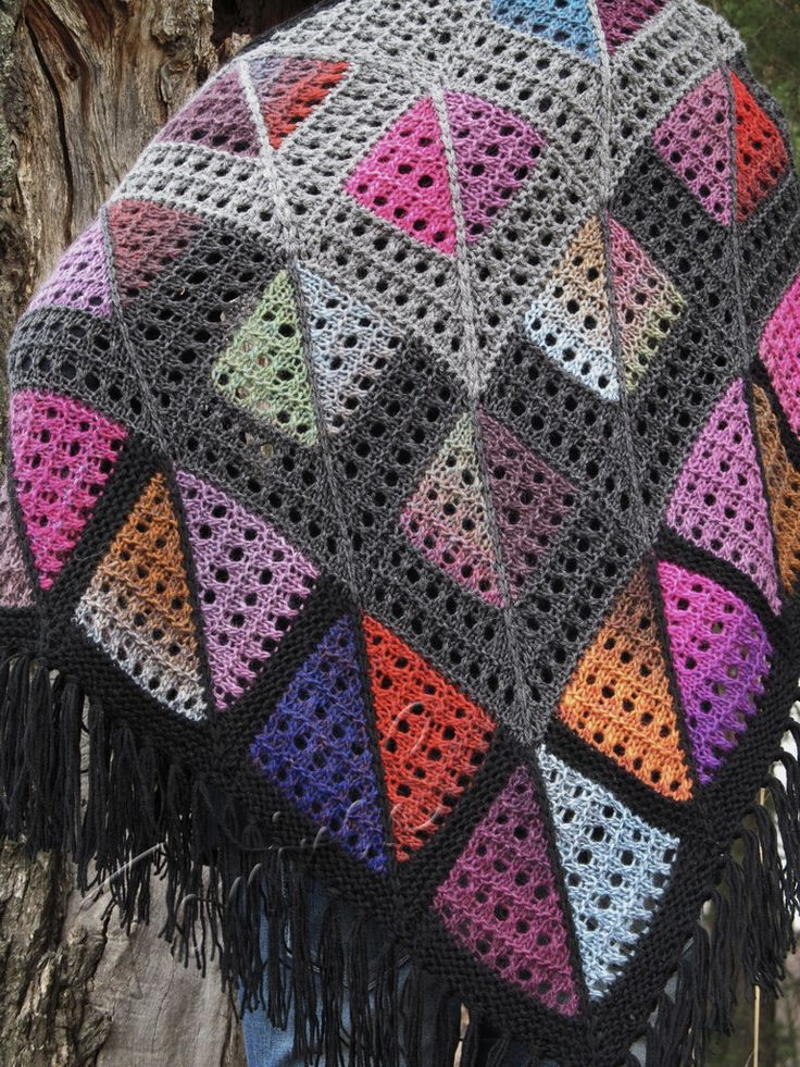 """""""Marc Shagall"""" (knitted shawl, wrap, knitting lace, wool shawl, modular squares, patchwork, stained-glass)"""