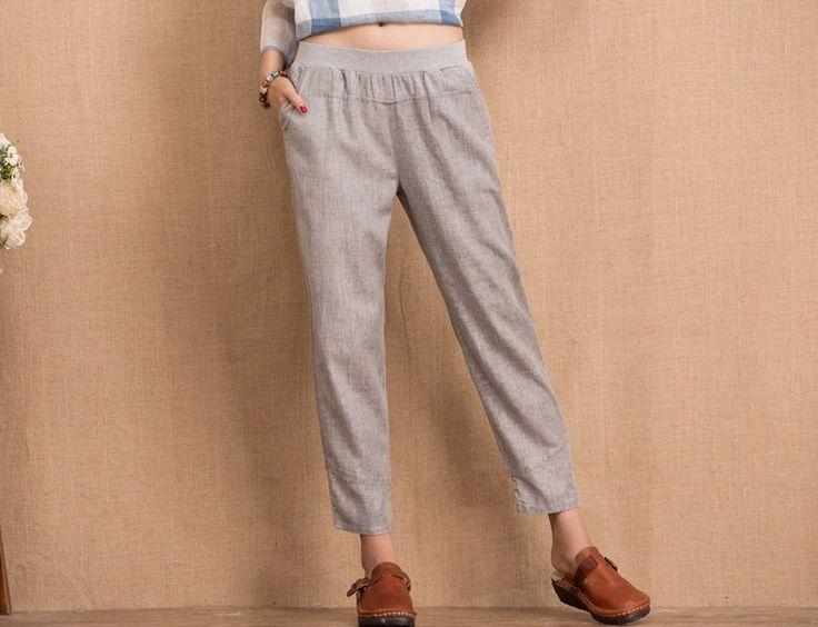 Donne Grigio casuali pantaloni di lino 156  di Deboy2000 su DaWanda.com