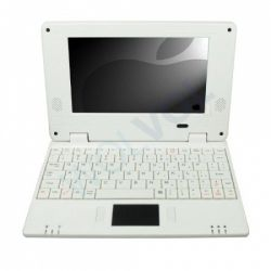 Slim and light weight WHITE (Solid White Inside and Outside) mini laptop Android 2.2, 4GB storage, WiFi internet Price: $99.94