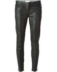 Schwarze Leder Enge Jeans von Faith Connexion