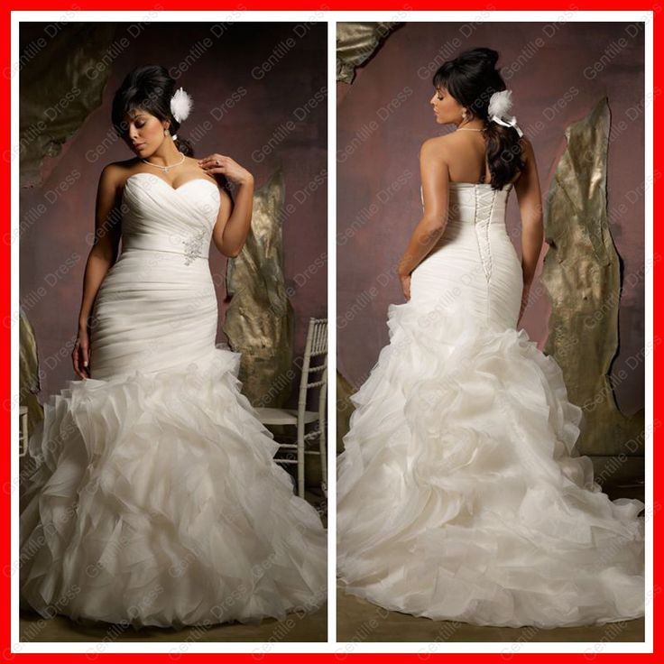 Spectacular Plus Size Wedding Dresses Mermaid Style Free Fast Shipping Hot Sale Luxury Ruffled Sweetheart Beaded Ruched