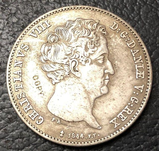 1844 Denmark 1 Rigsbankdaler 30 Schilling Courant Christian Viii
