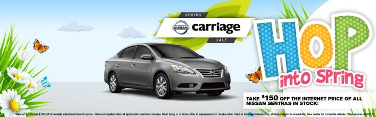 April Specials: Take $150 off the internet price of all Nissan Sentras in stock!