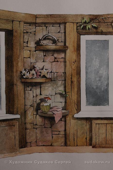 Оформление бассейна.Часть стены между окнами. Обманка - имитация полок (акрил) Сергей Судаков