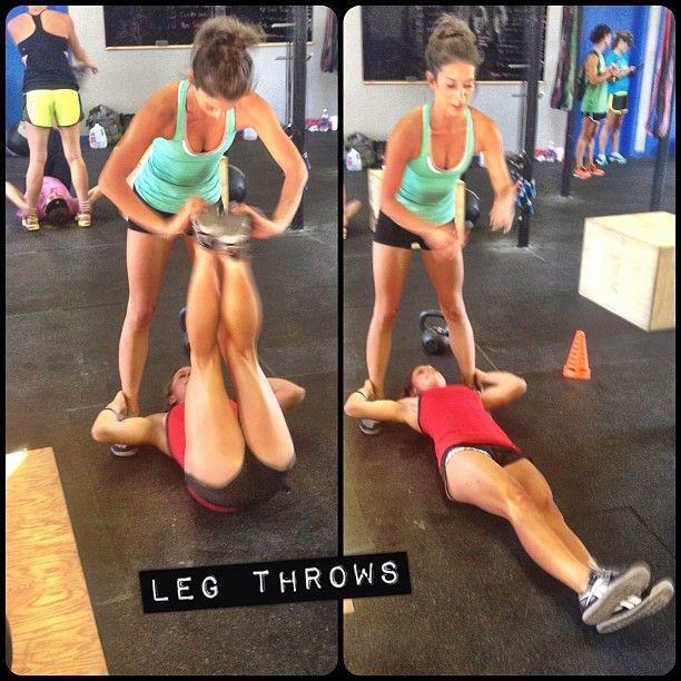 Leg throws to work your #core and #abs. Hold onto your partners heals and one person throws the legs of their partner to intensify the basic leg lift. Try not to let your heals hit the floor and make sure to engage your core by bringing your belly button to your spine (suck in and flex).