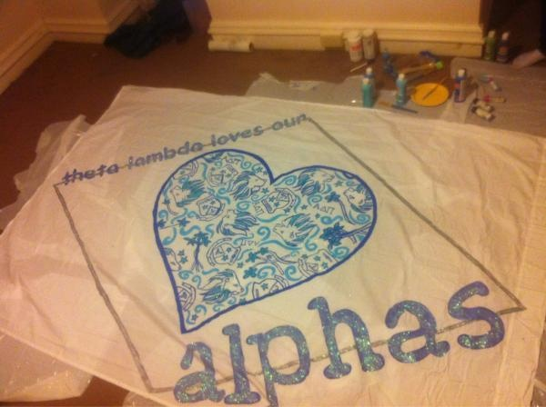 GREAT Alpha sheet sign made by Theta Lambda-F&M;! #LillyPulitzer: Banners Signs, Banners Idea, Alpha Delta, Sheet Signs, New Girls, Alpha Banners, Delta Pi, Crosses Stitches Design, Alpha Sheet
