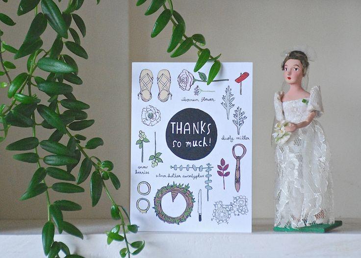 Thursday's Child custom wedding thank you card - Tom + Yaana
