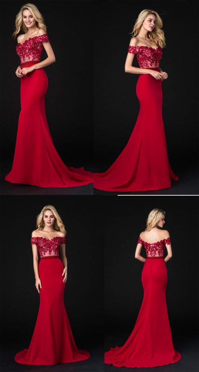 Fashion off the shoulder red lace mermaid prom dresses evening gown