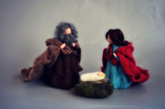 Needle felted Nativity Scene. Nativity Set. by darialvovsky