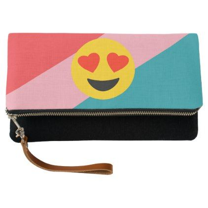 Love Emoji On Stripes Clutch - fun gifts funny diy customize personal