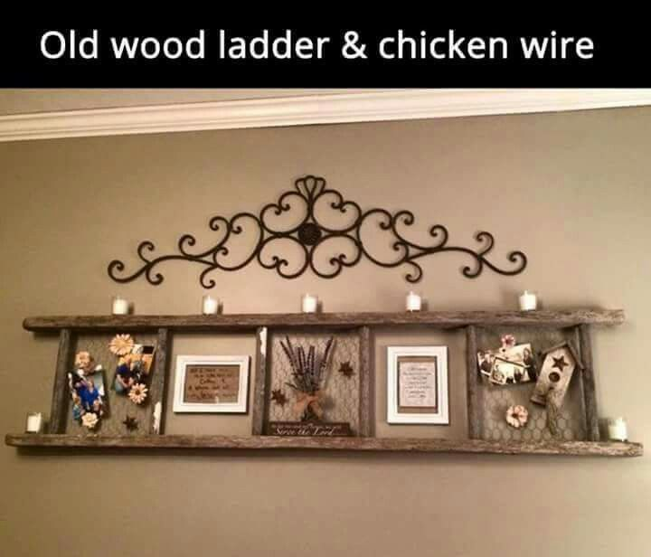 Rustic wall decor. Old wood ladder and chicken wire.